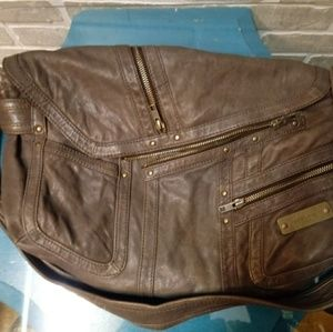 Distressed Soft brown leather bag SEQUOIA Paris